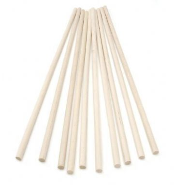 30cm Wooden Craft Sticks - Hardwood Dowels Poles 8mm Diameter 10 Pack